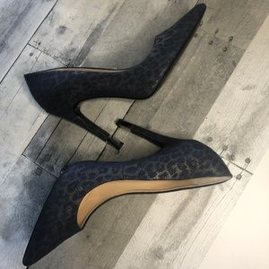 Guess Blue Leopard Lace Pointed Toe Heel